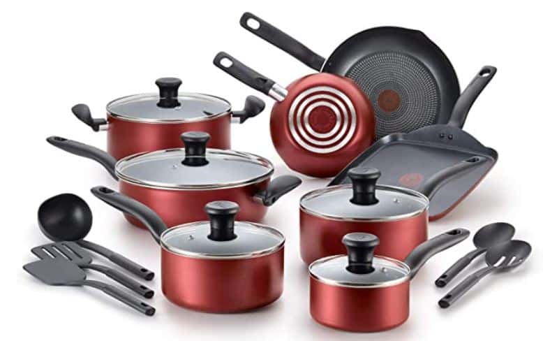 Red T Fal Ceramic Cookware 18 Piece Set Image